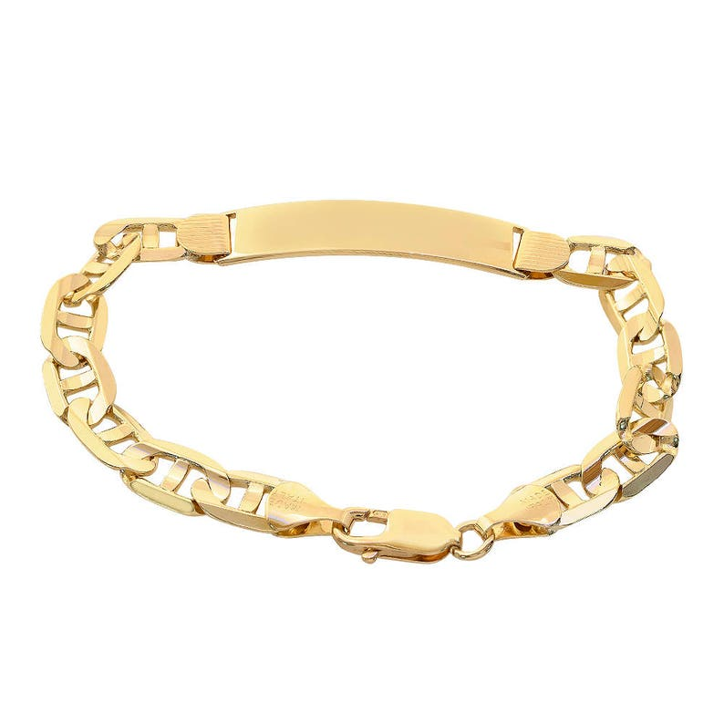 9d6e53b3a99da 14K Yellow Gold Gucci Link Chain ID Bar Bracelet Made In Italy