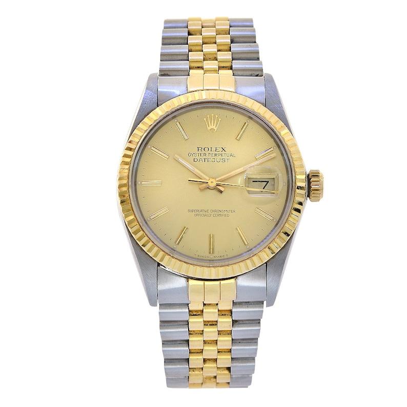 fc159ff6127 Rolex Datejust 36 inox   Champagne montre en or jaune 18K