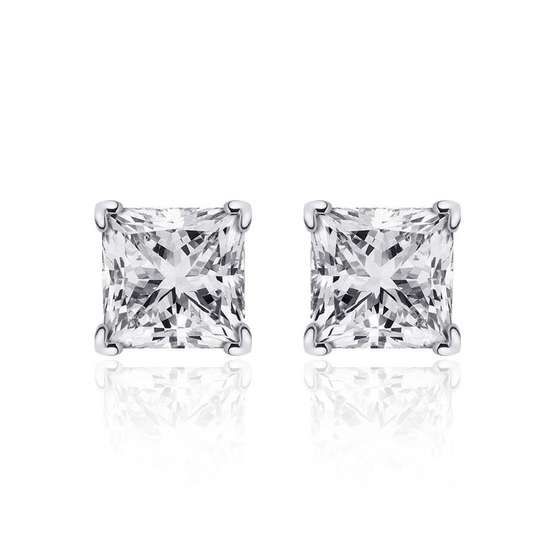 e80d82000 1.02 Princess Cut Diamond Solitaire Stud Earrings 14K White | Etsy