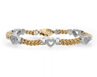 0.50 Carat Diamond Heart Station 14K Two Tone Gold Bracelet