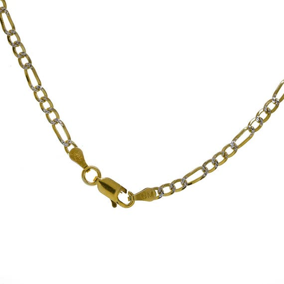 77e8f536dae4e 18k Yellow Gold Over Silver Figaro Link Chain Made In Italy