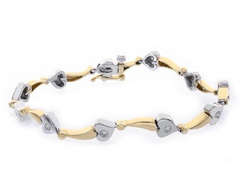 0.35 Carat Diamond 14K Two Tone Gold Heart Bracelet
