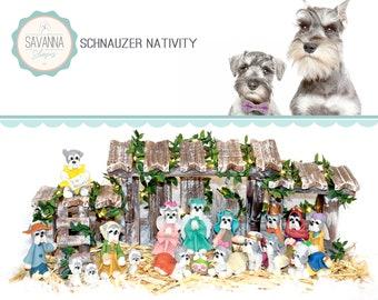 Dog Nativity, Schnauzer, Nativity sets