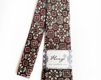 Natural Dyes Green Teal Brown Mens Necktie, Neck Tie, Groomsmen Necktie, Ties, Tie, Wedding Neckties, Green, Floral Necktie, Batik Necktie