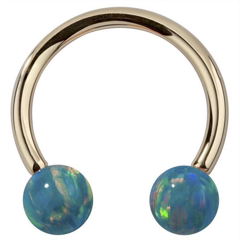 Opal Body Jewelry Opal 14k Yellow Gold Circular Barbell