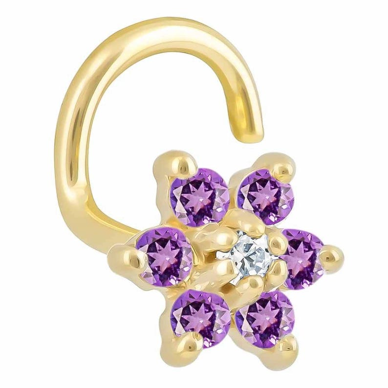 Colorful CZ Flower 14K Yellow Gold Nose Twist Screw