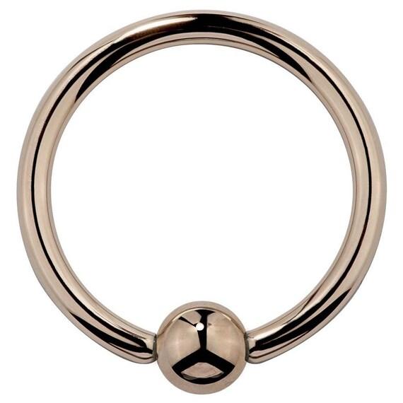 FreshTrends 18G Baltic Amber 14K Rose Gold Captive Bead Ring