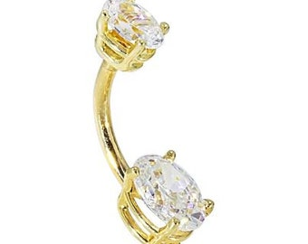 Custom Petite Oval Solid 14K Yellow Gold Belly Ring (April) - 14G, 8mm, CZ's