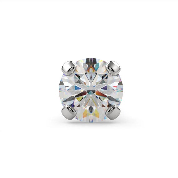 Pink Diamond 950 Platinum Nose Ring Twist Screw