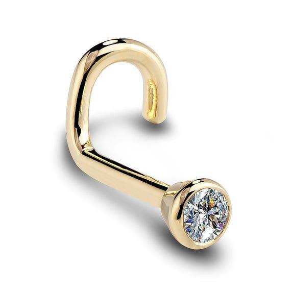 FreshTrends 2mm SI1 Diamond 14 Gauge 5//16 Solid 14K Yellow Gold Bezel Set Labret