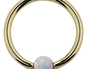 Opal 14kt Yellow Gold Captive Bead Ring
