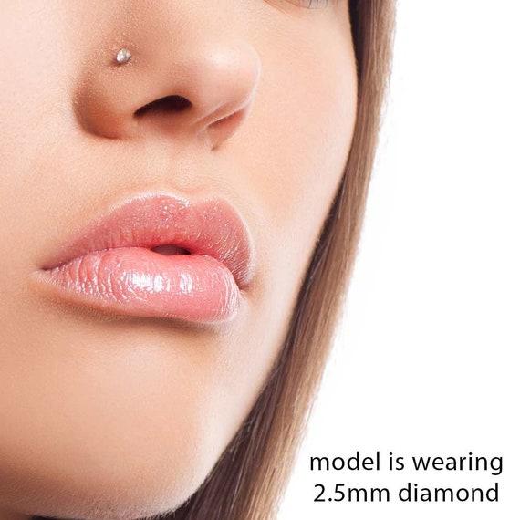 1 5mm 015 Ct Tw Diamond 14k White Gold Bone Nose Ring Etsy