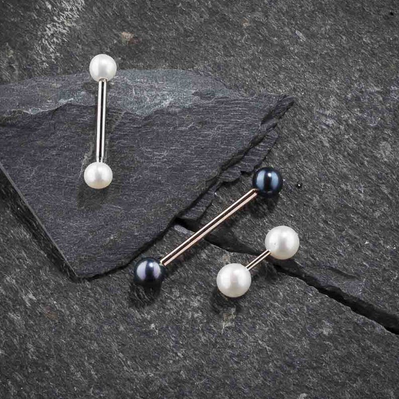 Cultured Pearl 14k White Gold Straight Barbell Nipple Tongue Ring