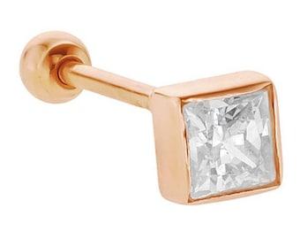 Diamond Princess Cut 14K Rose Gold Cartilage Stud Earring .25CT