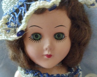 """LAST CHANCE SALE! 1940 11"""" Sleepy Eyed Doll With Hand-Crocheted Outfit"""