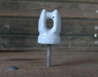 White porcelain electric insulator