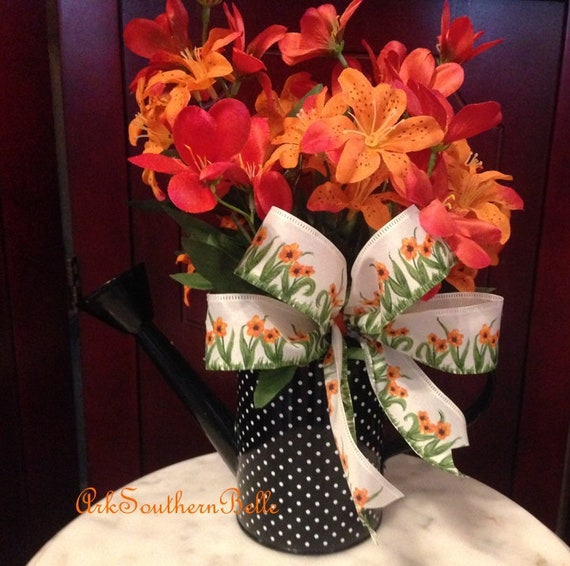 Dining Table Decor Orange Silk Tiger Lilies w black spots White ribbon w orange flowers Orange wedding, Orange TIGER LILY NAPKIN Rings