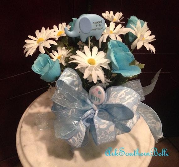 Baby Boy Floral Arrangement Blue Its A Boy New Baby Boy Etsy