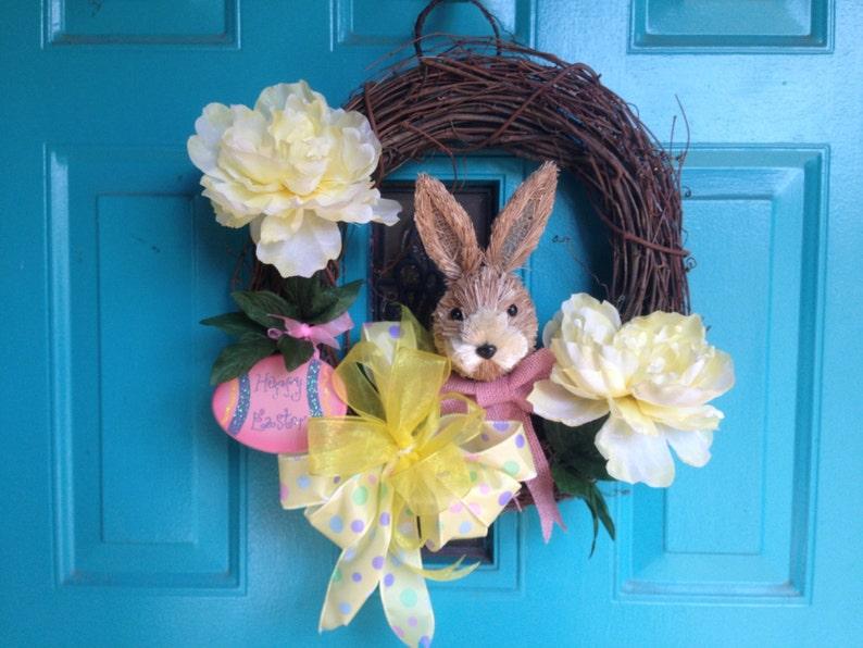 Bunny Wreath,Door wreath Easter Rabbit Wreath Spring Wreath Easter Grapevine Wreath with Bunny soft yellow peonies and wooden Easter egg