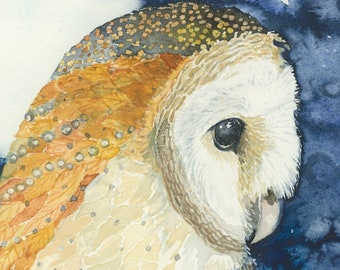 owl Audubon series watercolor owl birdwatcher barred owl Calls In the Day Card art print