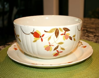 "Dinner Plate and 7 3/4"" Mixing Bowl//Autumn Leaf Made by Hall//Vintage Plate and Bowl"