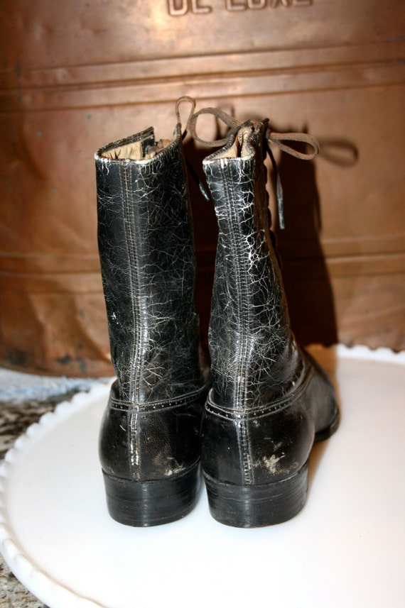 Up Boots Antique Top Lace Victorian Boots Ladies Diamond Leather Brand Boots Black High wFFPB