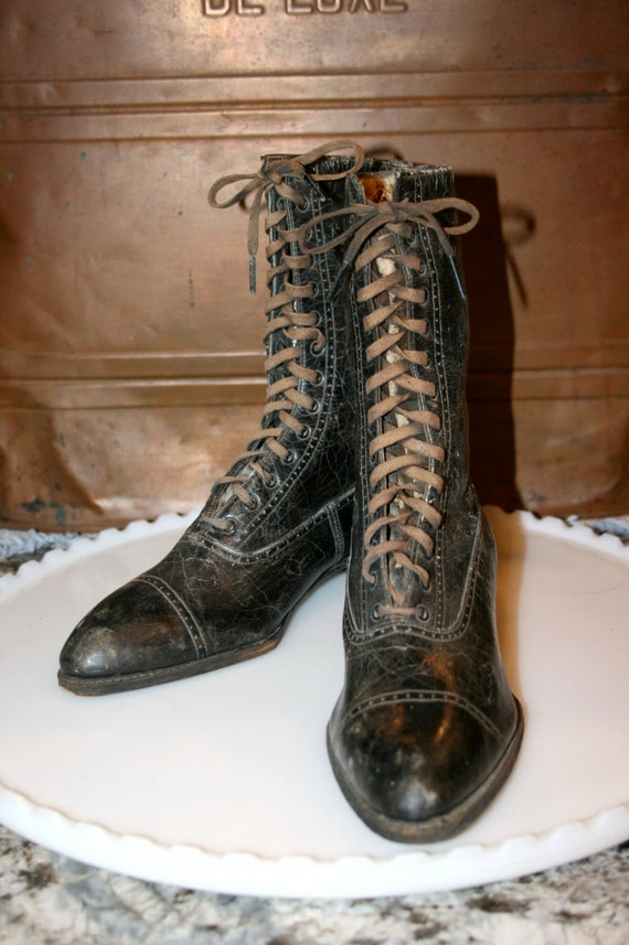 Ladies Boots Leather Top Boots Brand Boots Diamond High Up Victorian Black Antique Lace 6gxnFYt