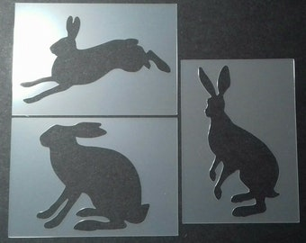 Rabbit silhouette stencils 6Pack