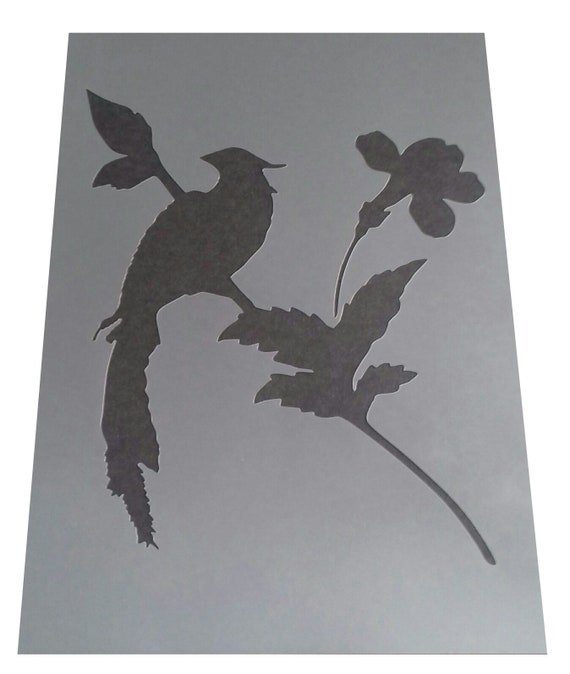 Shabby Chic plastic stencil Feather birds Vintage A4 297x210mm wall or furniture
