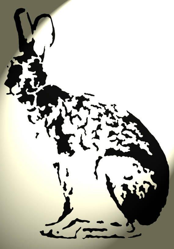 Shabby Chic plastic craft Stencil sheet artistic Hare rabbit body A4 297x210mm