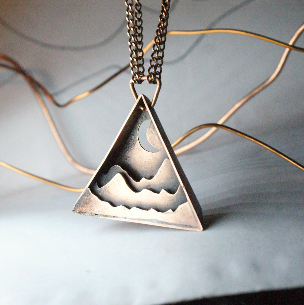 Copper jewelry unique pendant triangular pendant copper for Just my style personalized jewelry studio