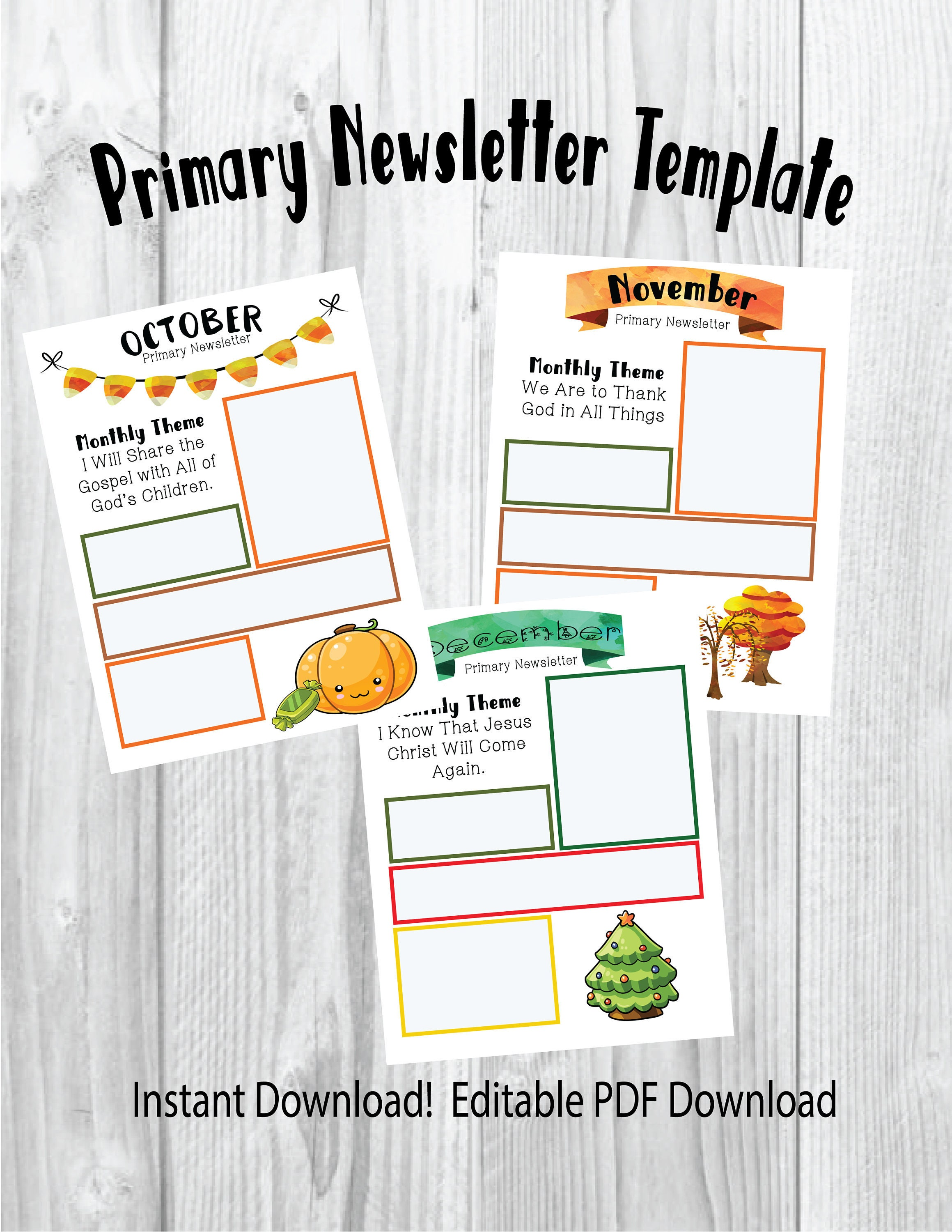 primary newsletter template newsletter template lds etsy