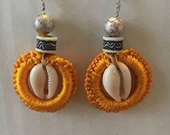 Silk & Cowrie Shell earrings
