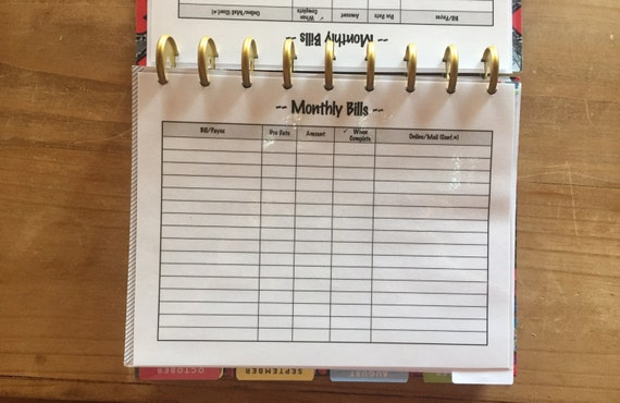 monthly bills online tracking writing insert for the reg or etsy