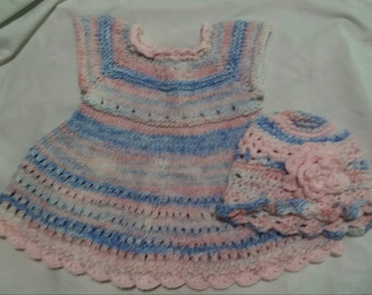 Hand Knit Baby Girl summer Dress and Hat 9-12 Months