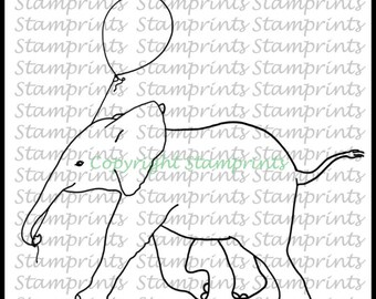 Baby Elephant with Balloon (TLS-1811) Digital Stamp. Cardmaking.Scrapbooking.MixedMedia.