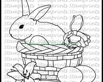 Bunny in Basket (TLS-1805) Digital Stamp. Cardmaking.Scrapbooking.MixedMedia.