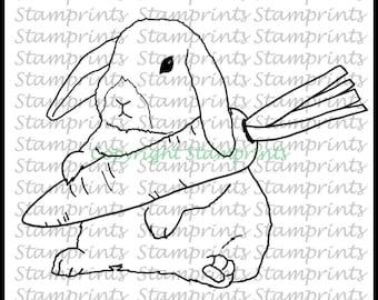 Bunny with Carrot (TLS-1803) Digital Stamp. Cardmaking.Scrapbooking.MixedMedia.