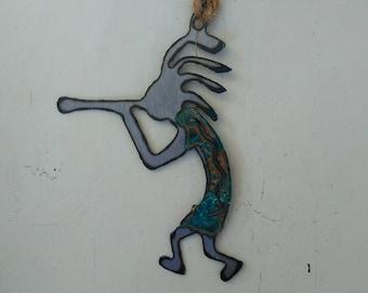 Patina Kokopelli Flute Up Ornament