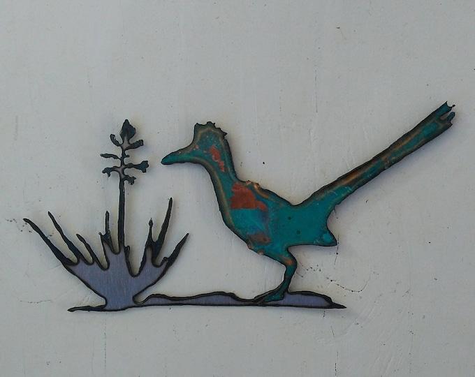 Patina Road Runner Yucca Mini Sculpture