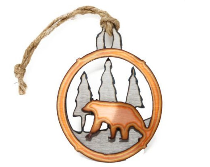 Copper Black Bear in Pines Ornament