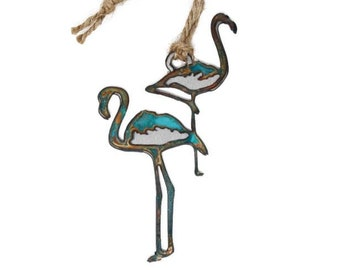 Patina Flamingos Ornament