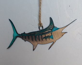 Patina Blue Marlin Ornament