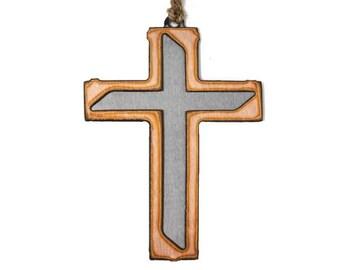 Copper Modern Cross Ornament
