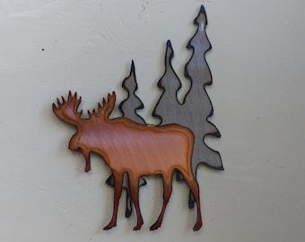 Moose Beneath the Trees Mini Sculpture Magnet
