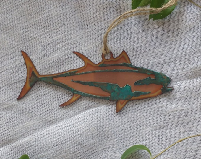Yellow Fin Tuna Ornament: Copper and Copper