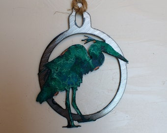 Patina Blue Heron Ornament