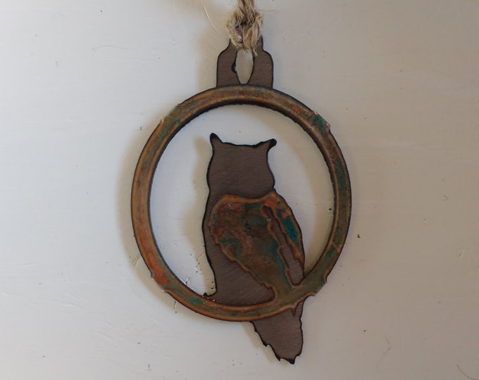 Patina Owl Ornament