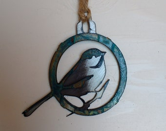 Patina Chickadee Ornament