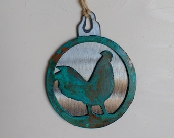 Patina Rooster Ornament